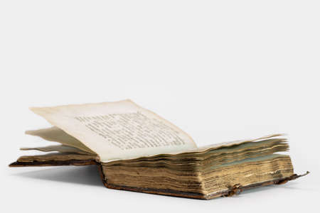 Very old open bible book isolated on white 版權商用圖片