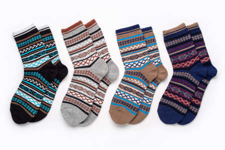 Warm, cozy socks with an ornament, the concept of relaxation and comfort. 版權商用圖片