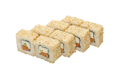 Japanese cuisine. Set maki roll with salmon in sesame. Copy space for promo text, isolated.
