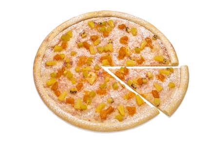 Fruit sweet pizza for dessert. Concept for flyer, advertising poster, restaurant menu. 版權商用圖片