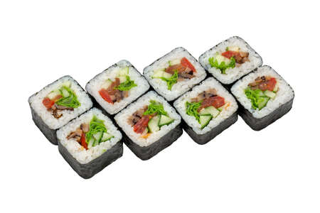 Set of vegetarian maki (roll) with lettuce, mushrooms, tomato and cucumber. Advertising flyer or poster, restaurant menu.