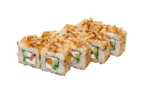 Japanese food. Set of maki roll with salmon, cucumber and soft cheese. White background. Copy space, studio shot. 版權商用圖片