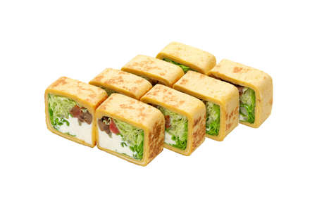 Japanese cuisine. Set maki roll with salmon, mushrooms and lettuce, isolated.