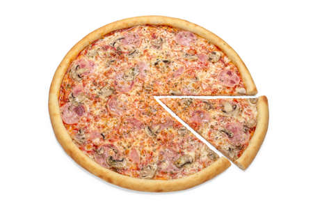 Photo of Italian pizza with mushrooms for use in advertising pizzeria, restaurant menu. Copy space for promo text. 版權商用圖片