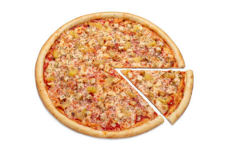 Photo of a whole Italian pizza and a slice for use in advertising a pizzeria, restaurant menu. Copy space for promo text.