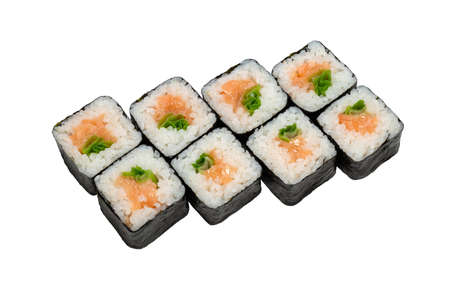Set of maki rolls with salmon and vegetables Close-up on white background, isolated. 版權商用圖片