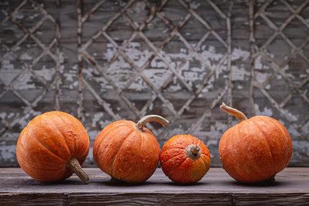 Decorative orange pumpkins on dark wooden table. Old gray background with geometric pattern, studio shot.