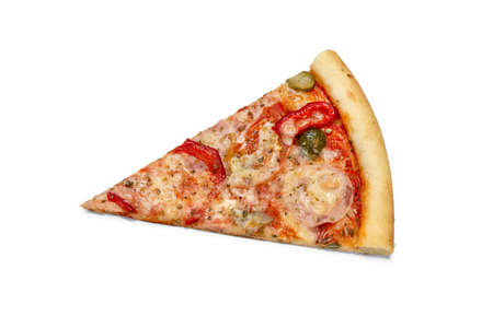 Photo of slice of Italian pizza for use in advertising pizzeria, restaurant menu. Copy space for promo text.