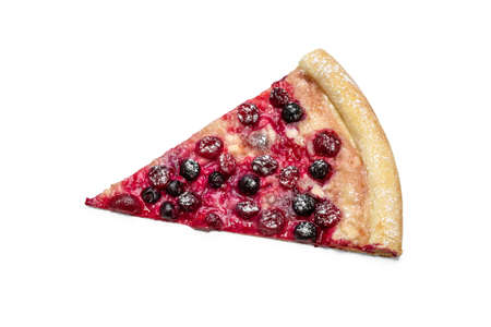 A slice of sweet berry pizza for dessert. Advertising flyer or poster for pizzeria menu, isolated. 版權商用圖片
