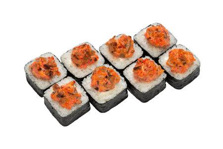 Maki (roll) baked. Japanese food. Copy space, studio shot, isolated. 版權商用圖片