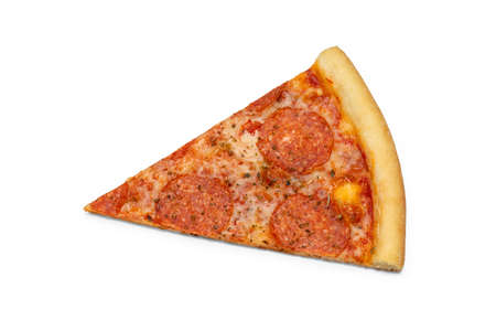 Photo of cut slice of peperroni pizza for use in advertising pizzeria, restaurant menu. Copy space for promo text. 版權商用圖片