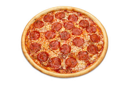 Photo of whole Italian pizza for use in advertising pizzeria, restaurant menu. Copy space for promo text. 版權商用圖片