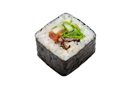 Maki (roll) vegetarian with mushrooms, cucumber, tomato and lettuce. Japanese food. Copy space, studio shot, isolated.