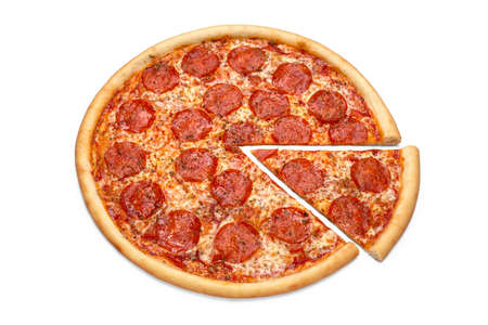 Concept for advertising flyer, poster, menu with pepperoni pizza. Slice of pizza top view, copy space, isolated.