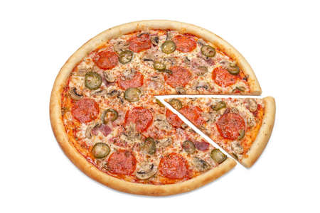 Photo of a whole Italian pizza and a cut slice for use in advertising a pizzeria, restaurant menu. Copy space for promo text. 版權商用圖片