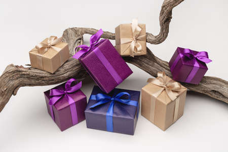 A set of gifts in multicolored boxes on snag. Various holidays and events.