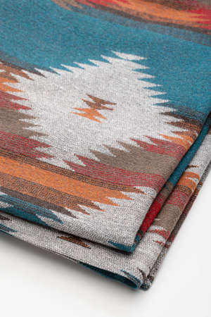 An accessory for cold weather, the throw blanket used by the North American Indians. Standard-Bild