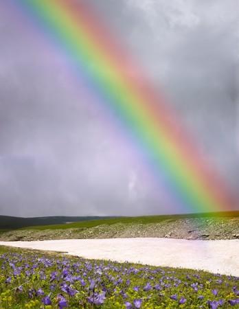rainbow on dark sky background Stock Photo - 8207748