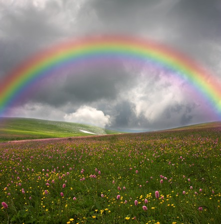 rainbow on dark sky background Stock Photo - 8207773
