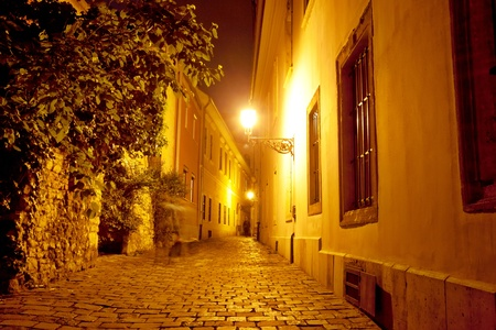 budapest: Night view of old street, Hungary, Budapest