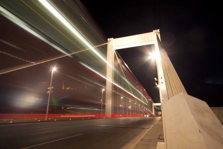bridge traffic at night in Budapest, Hungary photo