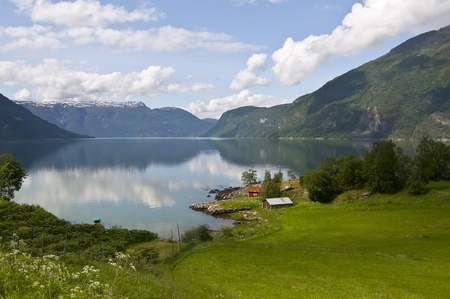 Norway scenery of Sognefjord with fields, houses, garden, mountains Stock Photo - 9869158