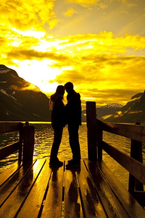 silhouette of lovers photo