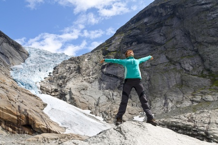 jostedalsbreen: Sport girl in Norway maountains Stock Photo