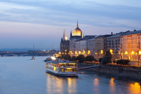 river water: Night view of Budapest  Stock Photo