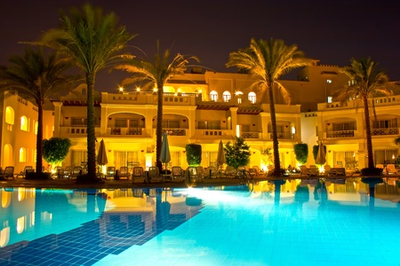 Night pool side of rich hotel Stock Photo - 11664923