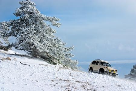 Off-road car on winter landscape
