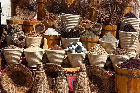 spicery: Baskets with spicery on east bazaar