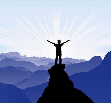 bergsteiger: Silhouette des Menschen auf der Spitze des Felsens - Erfolgskonzept
