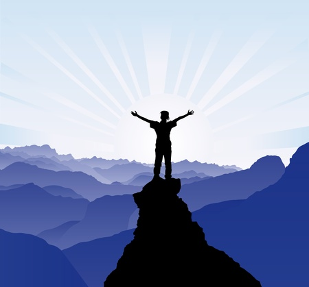 adrenalina: Silueta del hombre en la parte superior de la roca - concepto de �xito Vectores