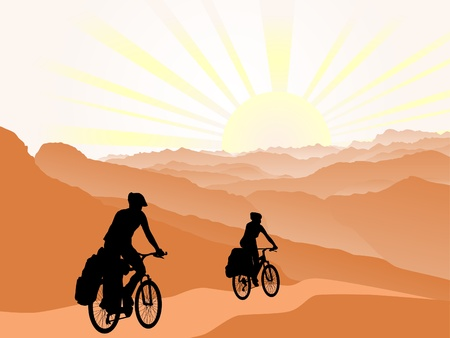 couple of cyclists travel to mountains. Silhouette. Active outdoor lifestyle concept Vectores