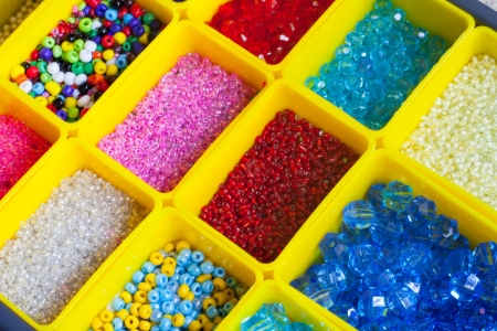 multi-colored beads for handmade in a boxes photo