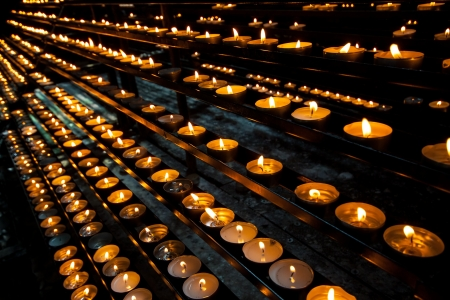 flaming memorial candles in church Stock Photo - 17438998