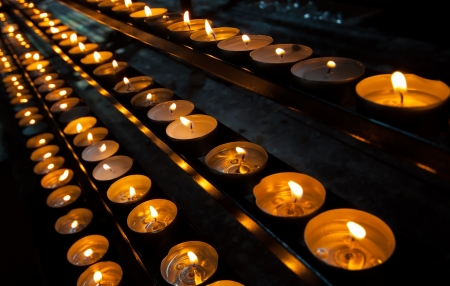 flaming memorial candles in church Stock Photo - 17438997