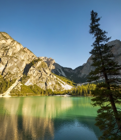 Lago di Braies, Dolotite,  Italy Europe Stock Photo