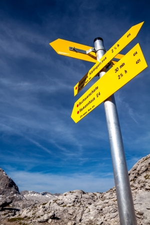 Yellow sign-board against mountain scenery of Germany Alps