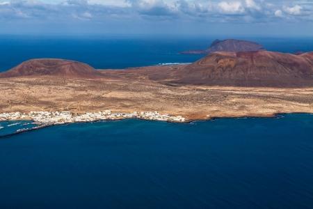 mirador: view to La Graciosa Island  from Mirador del Rio  Lanzarote, Canary Islands, Spain