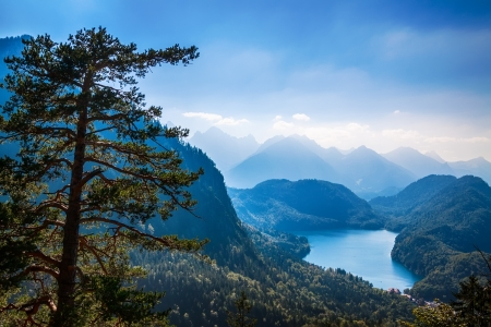 view to Alpsee lake valley, Bavarian alps, Fussen,  Germany photo