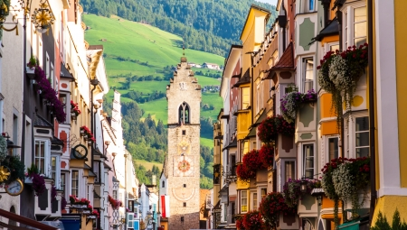 street of old europian town Vipiteno, Dolomites, Italy