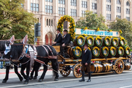 MUNICH - SEPTEMBER 21  Opening of Oktoberfest September 21, 2013 in Munich, Germany  Horse carriage takes part into Oktoberfest solemn procession