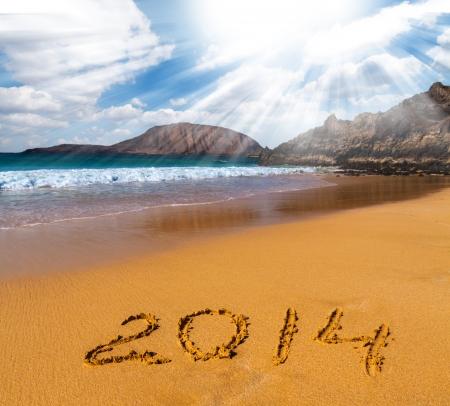 2014 on the sea beach  with the blue sky