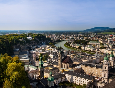 Panoramic view of the historic city of Salzburg, Salzburger Land, Austria photo