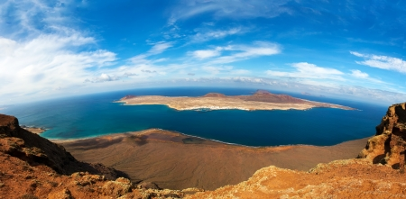 panorama of La Graciosa Island  from Mirador del Rio  Lanzarote, Canary Islands, Spain  Stock Photo