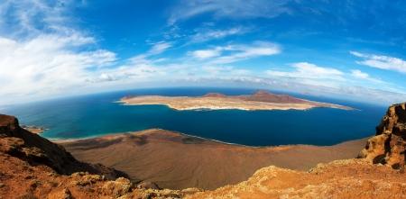 mirador: panorama of La Graciosa Island  from Mirador del Rio  Lanzarote, Canary Islands, Spain  Stock Photo
