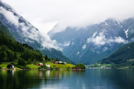 summer view to Sognefjord  and village in Norway