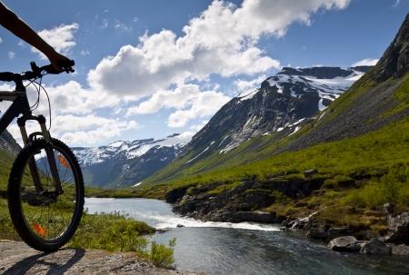 Mountain bike rider view on Norway landscape